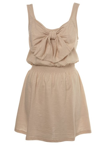 Nude Bow Front Dress