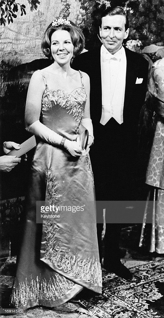 Princess Beatrix, later Queen Beatrix of the Netherlands with her fiance Claus van Amsberg, during a formal banquet at the Prinsenhof in Delft, Netherlands, 6th March 1966.