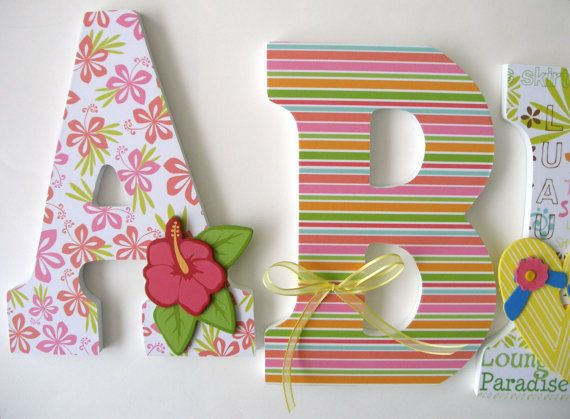 Custom wood letter set pink and orange nursery hawaiian for Baby name decoration ideas