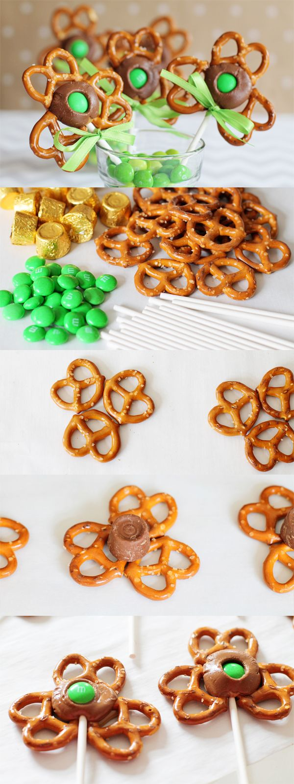 Shamrock Pretzel Pop Steps - Shamrock Pretzel Pops - Pretzels, Rolo Candy & a Green M&M. SO pretty and festive for a St. Patrick's Day Party!