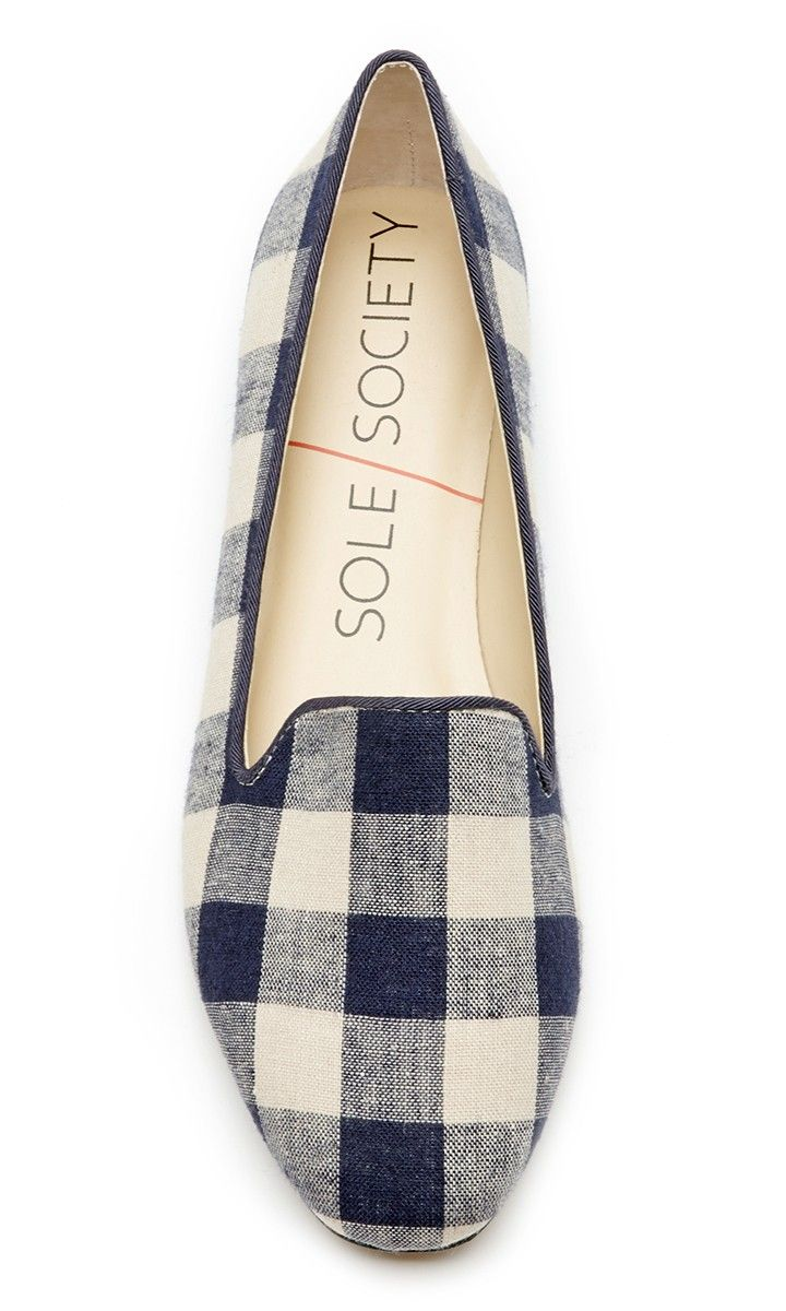 Navy plaid smoking slipper