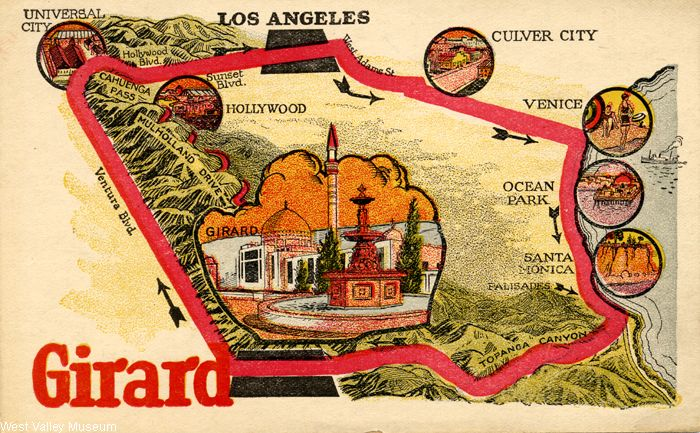 Advertisement and bus ticket to see the town of Girard (verso), circa 1920s. A bus picked people up at 518 South Hill Street in Los Angeles at 9:30 a.m. and drove them to Girard. Per the advertisement, in Girard there were horses to ride, a swiming pool, the Girard Golf Club, and the Girard Inn. Girard was intothe city of Los Angeles in 1945, and renamed Woodland Hills. West Valley Museum. San Fernando Valley History Digital Library.: Bus Ticket, Girard Golf, Girard Inn, Bus Picked, Advertisement, Exhibits Collection, Digital Collections