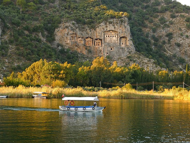 Dalyan River boat trip with the King Tombs of Caunos in the background