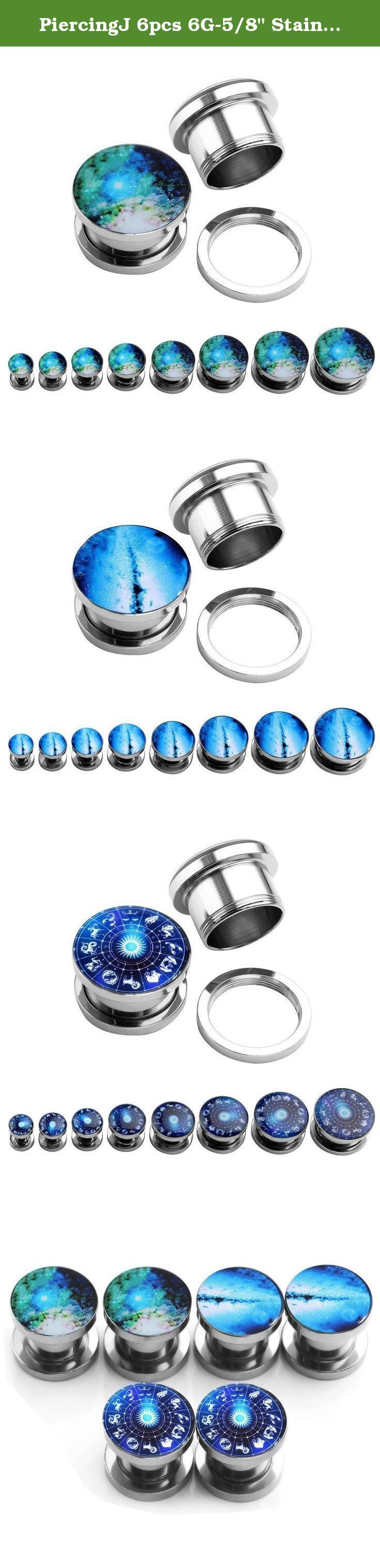 """PiercingJ 6pcs 6G-5/8"""" Stainless Steel Screw Flesh Tunnels Ear Stretcher Expander Plugs. Material: stainless steel. Gauge:2G(6mm); Flare Size:10mm. Total height:12mm. Quantity:3 pairs."""