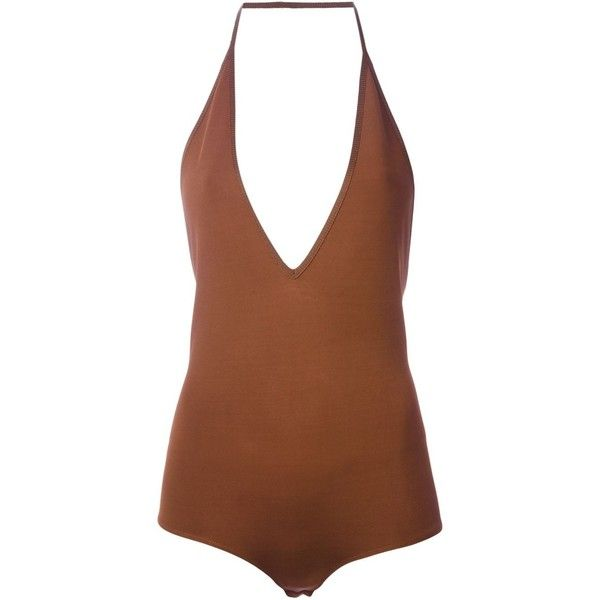 Givenchy halter playsuit featuring polyvore, women's fashion, clothing, jumpsuits, rompers, tops, bodysuits, playsuits, swimwear, bodies, brown, brown halter top, open back romper, playsuit romper, open-back rompers and halter rompers