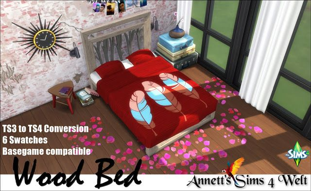 Wood Bed TS3 to TS4 Conversion at Annett's Sims 4 Welt • Sims 4 Updates