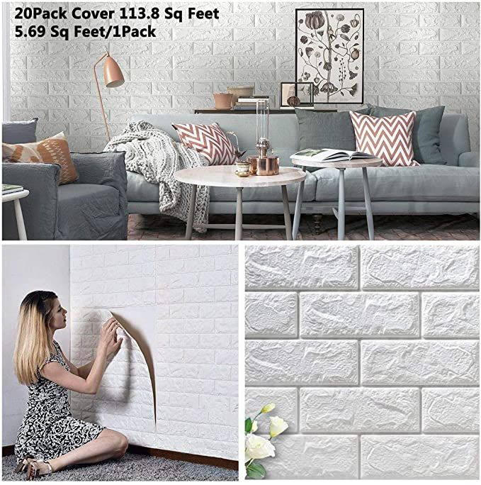 Amazon Com Arthome 20 Pack Faux Foam Bricks 3d Wall Panels Peel And Stick Wallpaper For Living Room B In 2020 Wallpaper Living Room Soundproofing Walls 3d Wall Panels