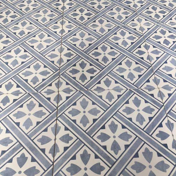 The Laura Ashley Mr Jones Midnight Blue Floor Tile By British Ceramic Tile A White Body Ceramic Floor Tile Wit Patterned Floor Tiles Tile Floor Ceramic Floor