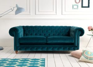 I MUST HAVE IT. Velvet teal chesterfield sofa