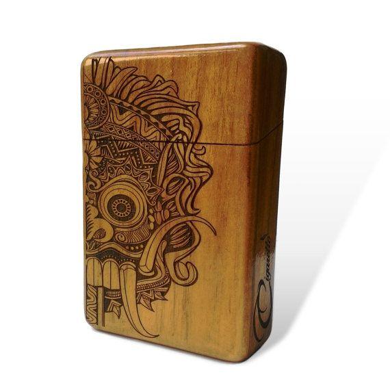 Balinese Mask Java Teak Wooden Cigarette Case Engraved