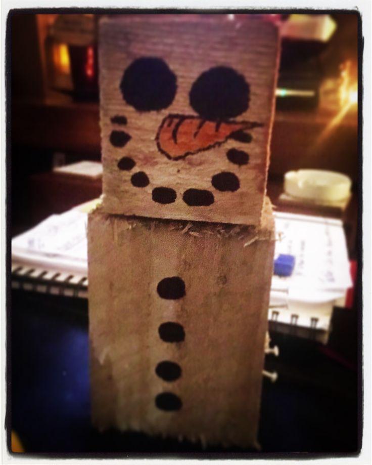 Snowman wood block from blocks off a pallet