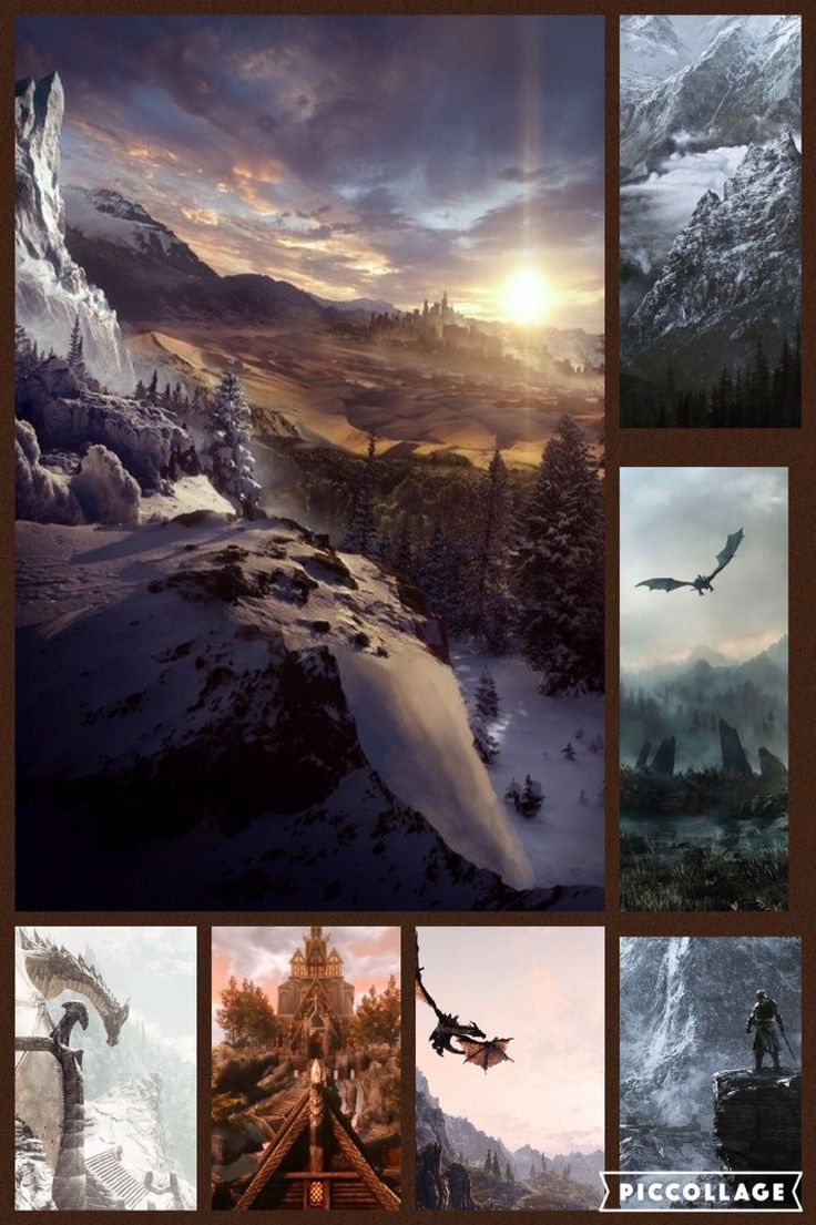 This is a collage of different Skyrim gameplay pictures