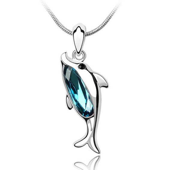Collar con Forma de Delfín y Cristal Swarovski