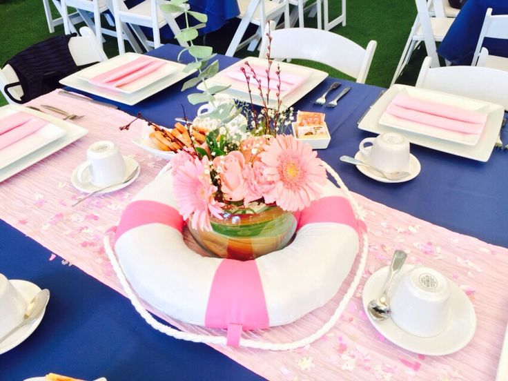 Centro de mesa baby shower ni a estilo marinero baby - Ideas para baby shower nina ...