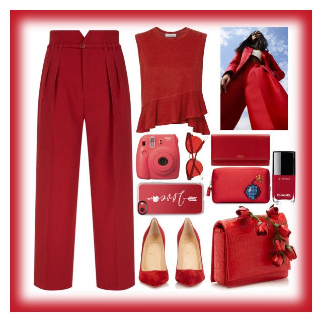 """""""love RED"""" by mileyharbee on Polyvore featuring Valentino, A.L.C., Christian Louboutin, Casetify, Fujifilm, Anya Hindmarch, Chanel and Smythson"""
