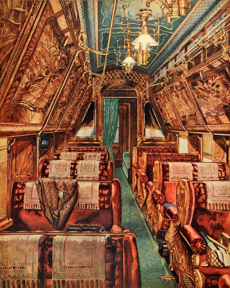 1944 print perkins harnley interior sleeping car parlor seats upholstery luxury vintage train. Black Bedroom Furniture Sets. Home Design Ideas