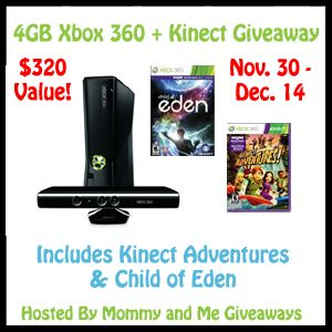 Mommy and Me Giveaways is hosting an awesome giveaway - Enter to win a 4GB Xbox 360 + Kinect + 2 games!