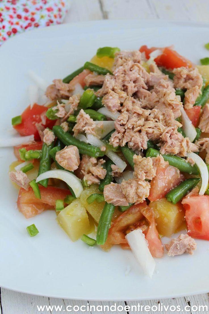 Cocinando entre Olivos: Ensalada de patata, tomate y judías verdes. Receta paso a paso.