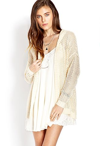 Easy Open-Knit Hooded Cardigan   FOREVER21 - 2000127152
