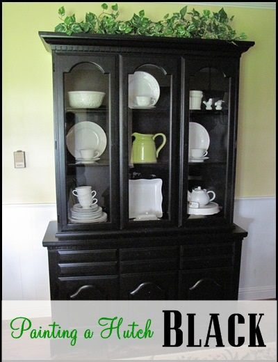 "I have been looking for a black hutch or cabinet to hold my white dishes in for some time. I was so excited when I got this hutch at a yard sale for $70.00. I loved the dental molding and glass doors. And even though it was a little ""dressier"" than I was looking for, […]"