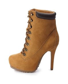New Meaning for Work #Boots Charlotte Russe Lace-Up High Heel Work Booties - on #sale 29% off @ #CharlotteRusse coolonsale.com #followcos
