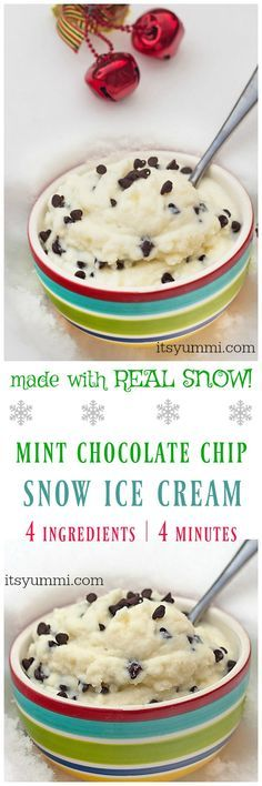 Making snow cream (snow ice cream) is winter fun for kids! Mint chocolate chip snow cream is made with REAL SNOW, using 4 ingredients and in just 4 minutes! | Recipe on itsyummi.com