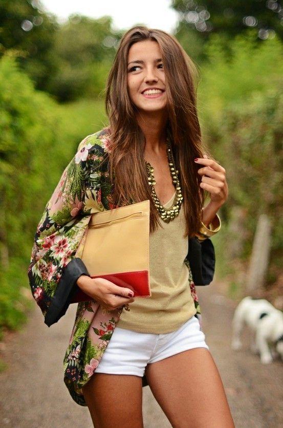 floral printed kimono jacket, big necklace, camel tank, white shorts