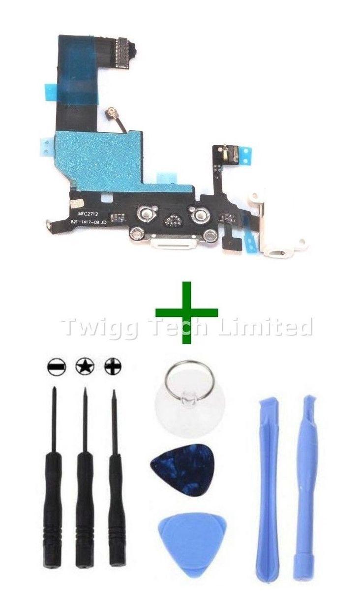 For iPhone 5 Blanc Port De Charge + Outils - Rechange Chargeur Flexible USB Dock