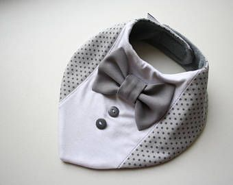 Baby bib boy, Baptism bib,shirt bow tie bib baby bandana bib removable bow tie, baby shower gift for newborn, infant gray dots