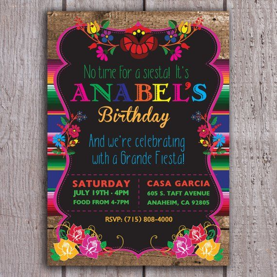 Mexican Birthday Invitation Fiesta Floral Spanish 40th