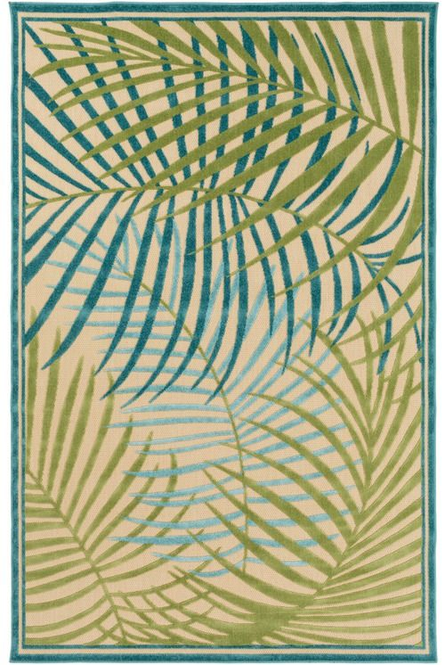 Classic tropical influence and impeccable design blend together to create these striking rugs with layers upon layers of teal, olive green, and canal blue palm imaged area rugs.