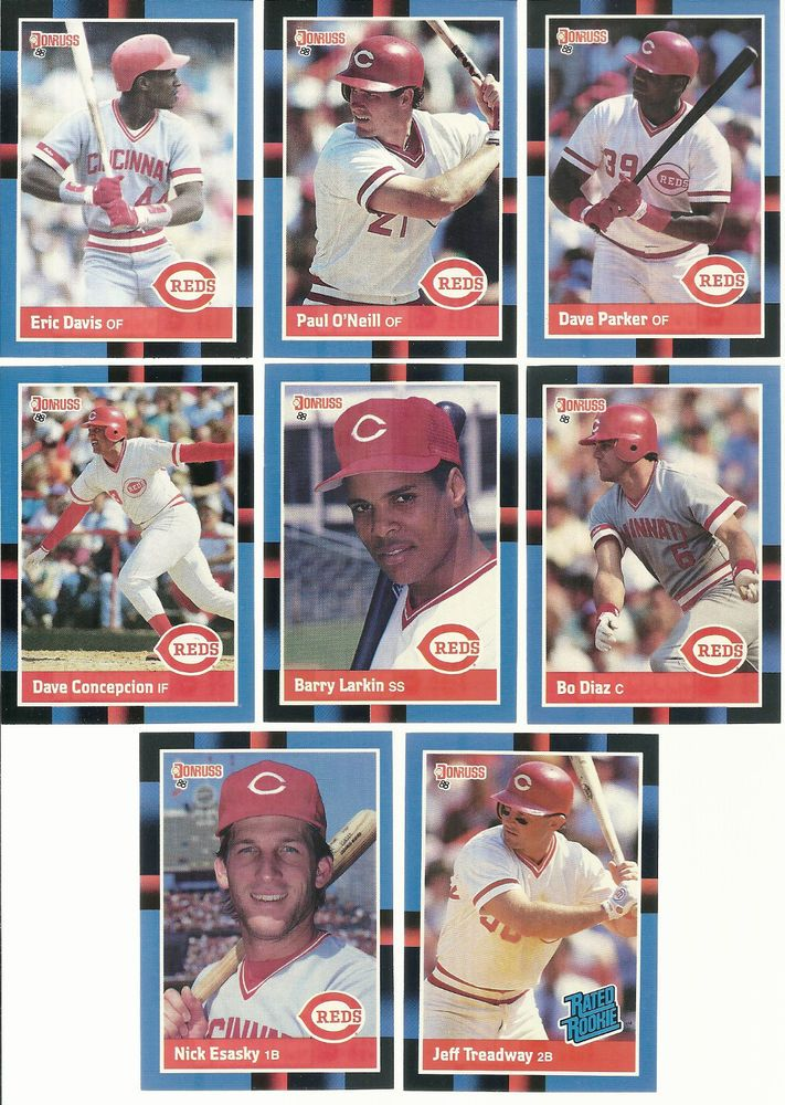 1988 Donruss REDS team set 24 cards lot Mint + LARKIN Concepcion Parker E.Davis #CincinnatiReds