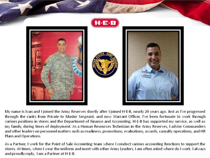 H-E-B Careers Fans, meet Ivan & read his story above!  Ivan joined the Army Reserves about 20 years ago, shortly after joining the H-E-B team.  Thank you for your service Ivan!
