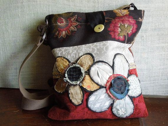 CROSSBODY BAG, Shabby Chic Upcycled Bag in Black and Red, Boho Slouch Purse, Hobo Hip Bag, Floral Applique Purse