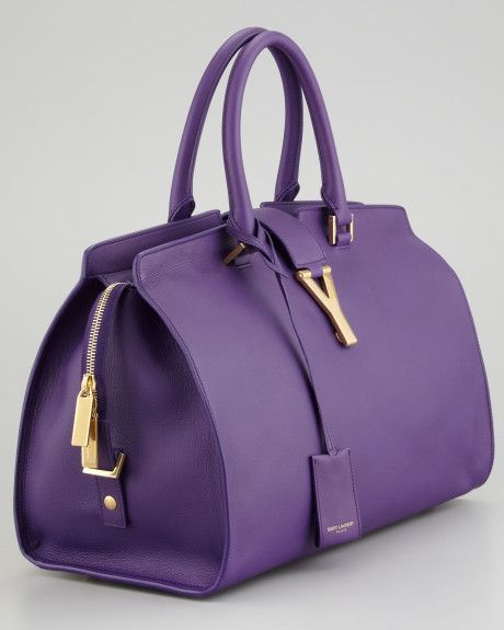 Saint Laurent Cabas Chyc Medium Soft Leather Bag in Purple (amethyst)