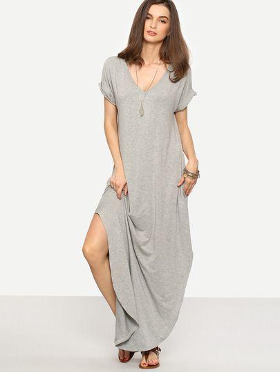 Robe longue manche courte avec fente latérale -gris
