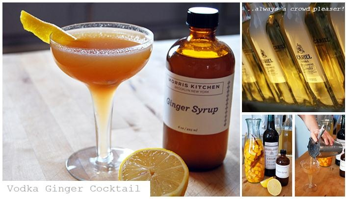 Vodka Ginger Cocktail - Always a crowd pleaser!  serves 1: 2 oz vodka, our choice of vodka Cariel Batch Blended, 1/2 oz Morris Kitchen Ginger Syrup, 1/2 oz lemon, 3 oz seltzer water. Add all ingredients to shaker with ice and shake, Pour into a highball glass and top with seltzer, Garnish with candied ginger or lemon