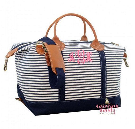 ВМС Stripes Monogram Weekender Bag монограммой от CarolinaDandy