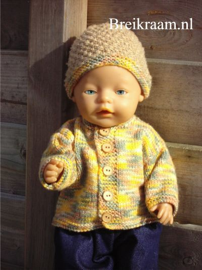 Breipatroon Babyborn vestje en mutsje