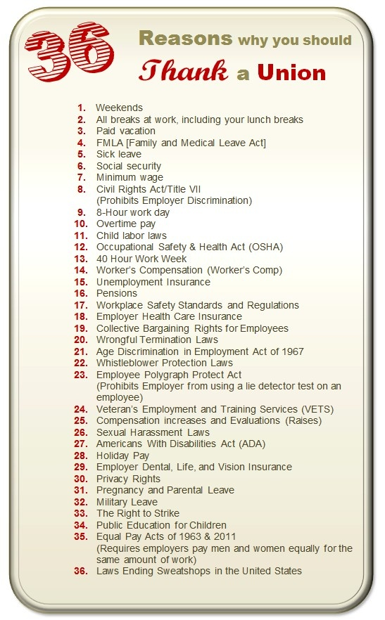 Why thank #unions? Here are 36 reasons, for starters.