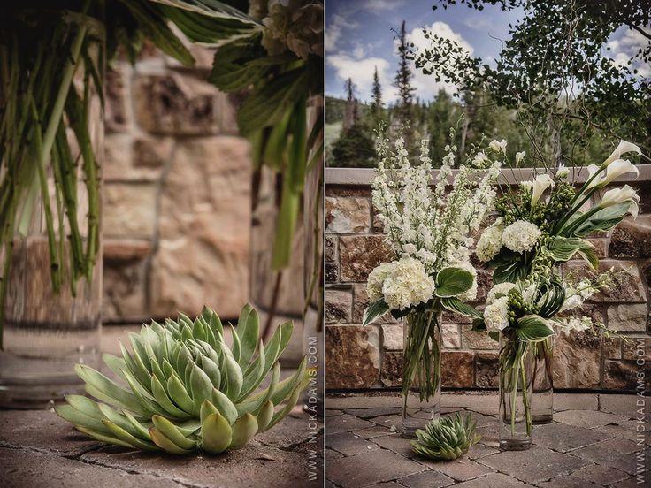 Modern Green Succulent White Hydrangea St Regis Deer Valley Park City Wedding Flowers Utah Calie