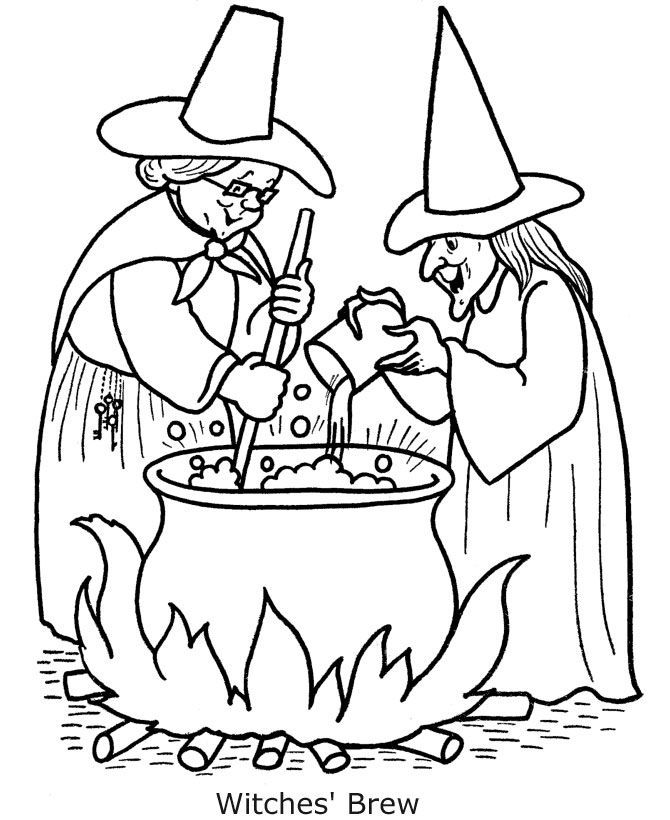 Halloween Coloring Pages Printable Witches Dengan Gambar