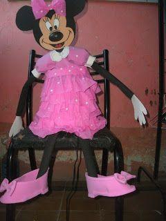 arte hechizada: piñata de minie para el cumple de mi nieta tatyana