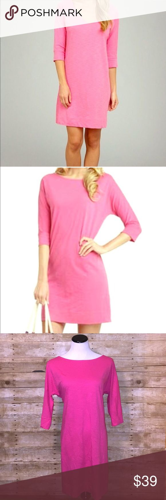 Lilly Pulitzer Pink Dress Pink dress from Lilly Pulitzer with elbow length sleeves. Color is a dark pink. Made from 100% Pima cotton. Excellent used condition! 🚫NO TRADES🚫 Lilly Pulitzer Dresses