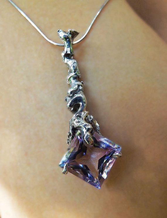 Amethyst Crystal PendantSterling Silver by BonTonContemporary