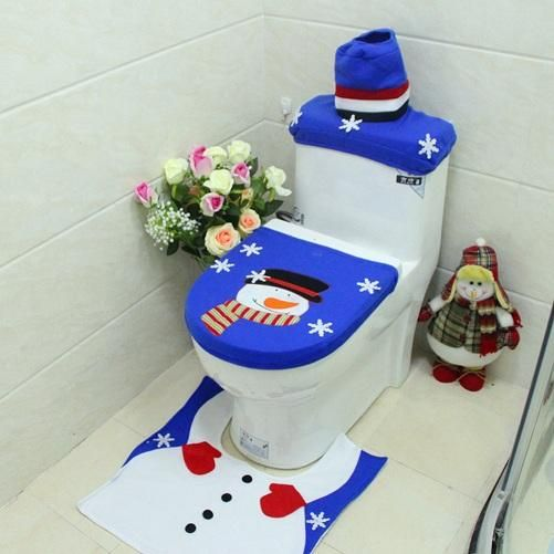 3pcs Christmas Decoration for Home Blue Santa Toilet Seat Cover+ Foot Pad Paper Rug Bathroom Set Bathroom Christmas Decor