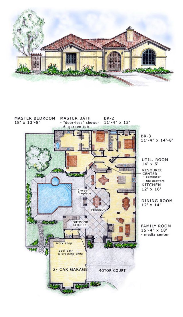 Florida mediterranean southwest house plan 56530 house for Southwest house floor plans