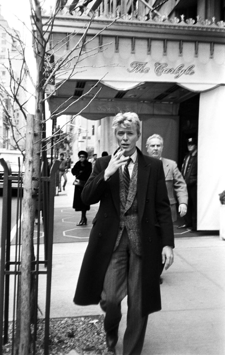 David Bowie outside the Carlyle Hotel; circa 1970