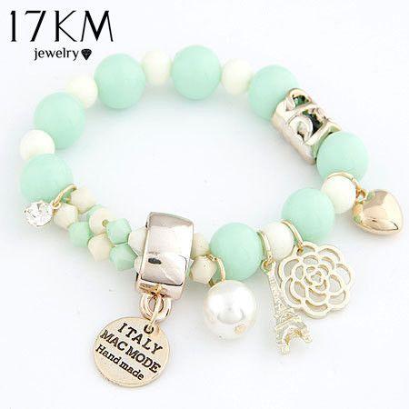 Cheap 7 colori in rilievo cuori carino fashion rose romantiche targhetta eiffel simulato perla borda il braccialetto dei monili per le donne, Compro Qualità Braccialetti di fascino direttamente da fornitori della Cina: