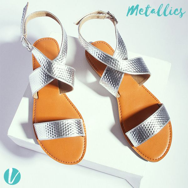 Because Fall is synonymous with Metallics! Get your own dose of Metallic Basics now! Shop these Shoes by Product Code - 161747 #metallics #metallicshoes #flatsandals #shoes #thelabellife #premium #vilara